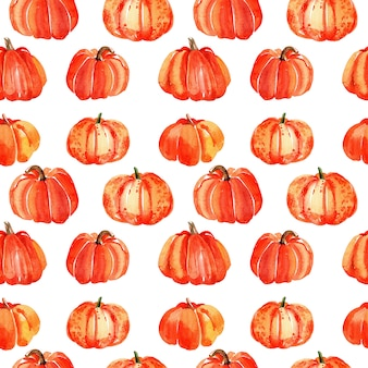Watercolor pumpkin seamless pattern