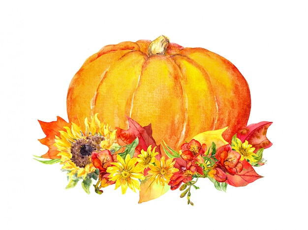 Watercolor pumpkin with flowers