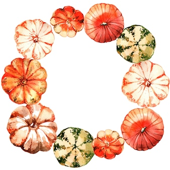 Watercolor pumpkin wreath.