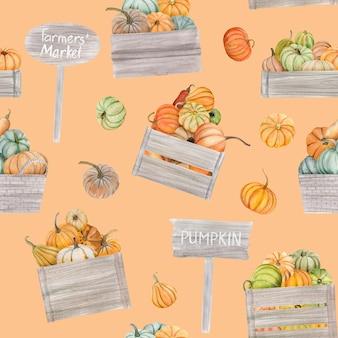 Акварельные тыквы падают бесшовные модели. он идеально подходит для поздравительных открыток или плакатов.