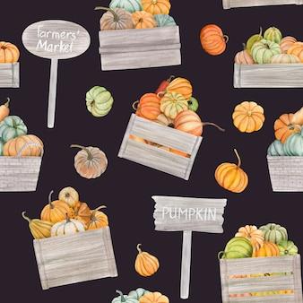 Акварельные тыквы падают бесшовные модели, они идеально подходят для открыток или плакатов благодарения