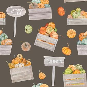 水彩のカボチャはシームレスなパターンになり、感謝祭のカードやポスターに最適です