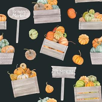 水彩カボチャはシームレスなパターンになります。感謝祭のカードやポスターに最適です。