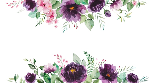 Акварельные фиолетовые цветы и зеленые листья границы иллюстрации изолированы