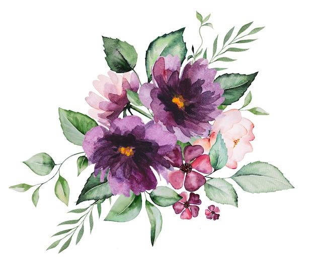 分離された水彩紫の花と緑の葉の花束のイラスト
