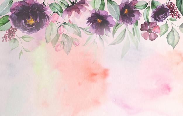Акварельные фиолетовые цветы и зеленые листья карты романтические иллюстрации с акварельным фоном. на свадьбу канцелярские товары, поздравления, обои, мода, постеры