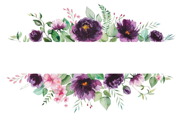 Акварель фиолетовые цветы и зеленые листья кадр иллюстрации изолированные