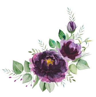 Watercolor purple flowers and green leaves bouquet illustration isolated