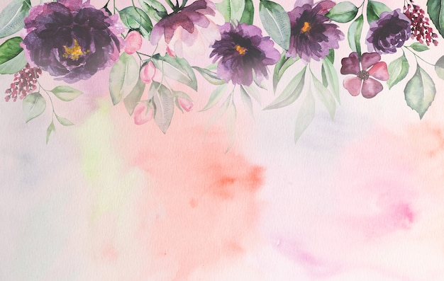 Watercolor purple flowers and green leaves card romantic illustration with watercolor background. for wedding stationary, greetings, wallpaper, fashion, posters