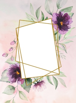 Watercolor purple flowers and green leaves frame card romantic illustration with watercolor background. for wedding stationary, greetings, wallpaper, fashion, posters