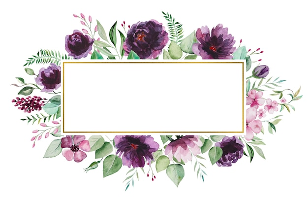 Watercolor purple flowers and green leaves frame illustration isolated