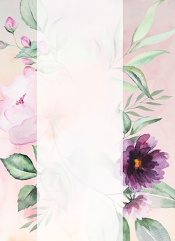 Watercolor purple flowers and green leaves frame romantic illustration with watercolor background. for wedding stationary, greetings, wallpaper, fashion, posters