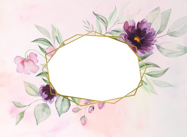 Watercolor purple flowers and green leaves frame romantic illustration with watercolor background