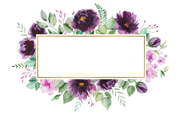 Watercolor purple flowers and green leaves frame romantic illustration