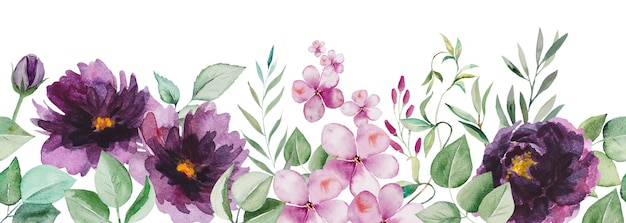 Watercolor purple flowers and green leaves seamless border illustration isolated