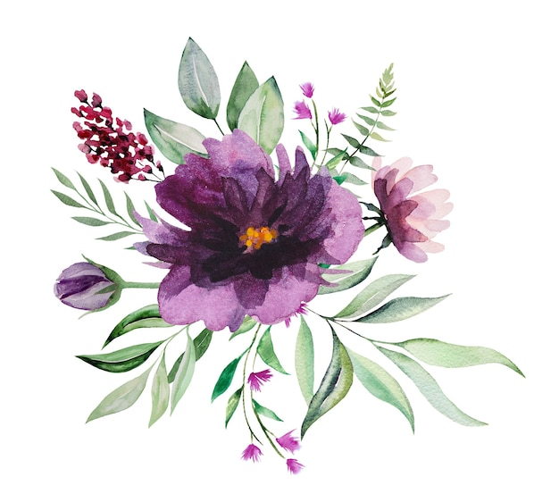 Watercolor purple and pink wild flowers and green leaves bouquet  illustrations
