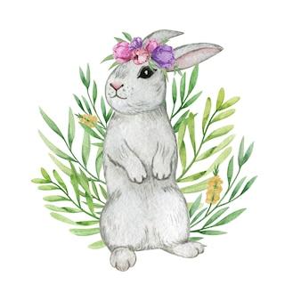 水彩ウサギ、イースターのウサギの分離、春の動物、水彩のウサギ、イースターの装飾