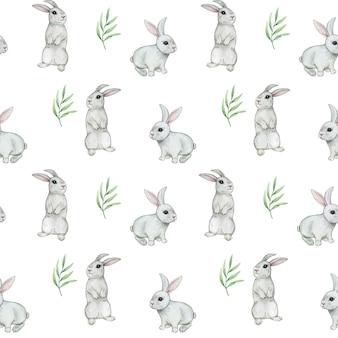 Акварель кролик бесшовные модели, милый кролик