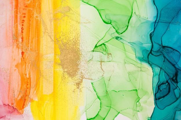 水彩の虹の抽象的な汚れの背景インクグラデーションテクスチャ