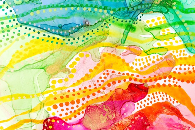 Watercolor rainbow abstract stains and dots background ink gradient texture