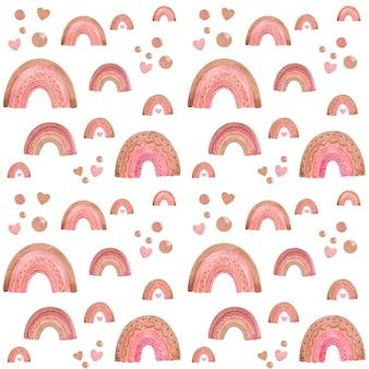 水彩の虹のシームレスなパターン、かわいい赤ちゃんのデジタルペーパー、虹の壁紙
