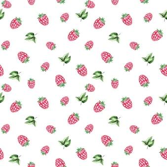 Акварель малиновый повторяющийся узор, ягодный бесшовный узор, малиновый альбом для вырезок