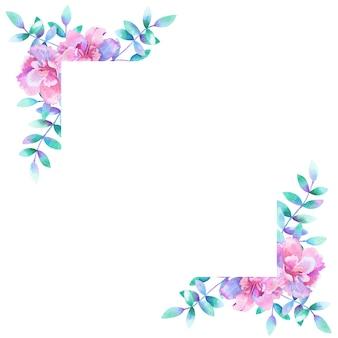 水彩の長方形の花フレームの背景。
