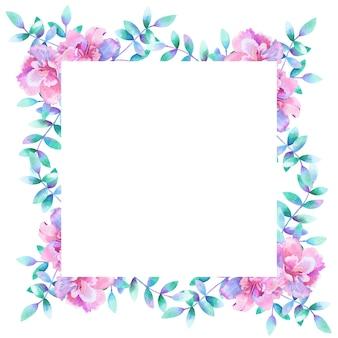 水彩の長方形の花のフレーム。