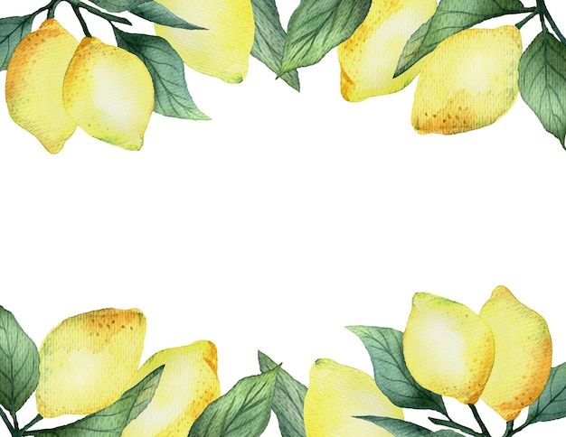 Watercolor rectangular frame with bright yellow lemons on a white background, bright summer design.