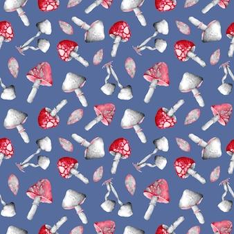 青い背景のシームレスなパターンに水彩の赤と灰色のキノコ。