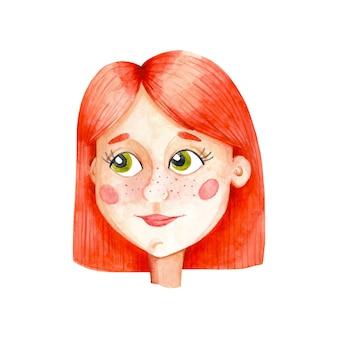 Иллюстрация акварель рыжая девушка, изолированные на белом фоне. имбирь мультфильм молодая женщина картинки. милый женский персонаж с ярко-оранжевыми волосами.