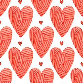 Watercolor red hearts seamless pattern. painted romantic backdrop