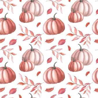 흰색 바탕에 수채화 붉은 호박과 가을 갈색 잎. 정원 완벽 한 패턴입니다. 추수 감사절 야채의 수채화 llustration. 인쇄, 섬유, 직물, 포장지를 위한 식물 예술
