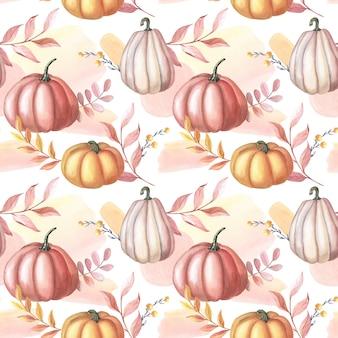 수채화 붉은 호박과 흰색 바탕에 단풍. 수채화 반점이 있는 완벽 한 패턴