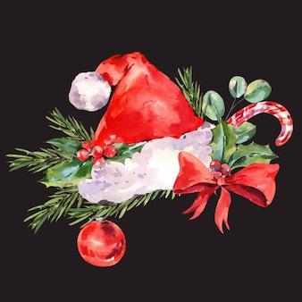 モミの枝と水彩の赤いサンタクロースの帽子、黒のヴィンテージクリスマスイラスト。