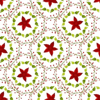 Watercolor red star and green leaves seamless pattern. can be used for wrapping, textile and package design