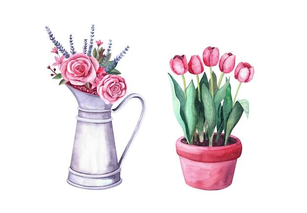 냄비에 수채색 빨간 튤립, 장미, 로반다, 딸기가 있는 꽃꽂이는 빈티지 금속 투수에 있습니다. 흰색 배경에 고립 된 그림
