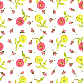 Watercolor red,yellow,lemon green ranunculus, green leaf and red rose bud seamless pattern