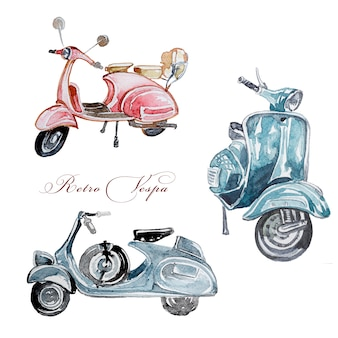 Watercolor retro vespa illustration clipart set isolated. handpainted european vintage vehicle design. retro delivery transport art.
