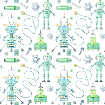 Watercolor robots and tools pattern on white background.