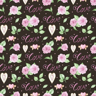 Watercolor romantic background with pink roses, hearts and love word.