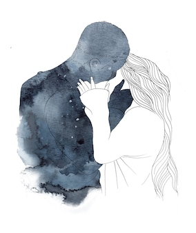 Watercolor romantic couple illustration silhouette of boy and girl in love hugging