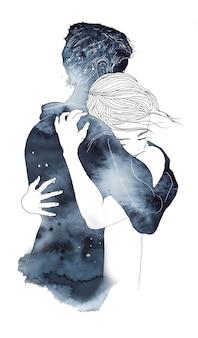 Акварель романтическая пара иллюстрация силуэт мальчика и девочки в любви обнимаются