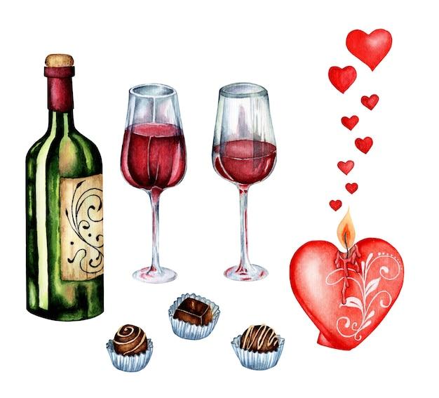 水彩のロマンチックなイラスト。バレンタインデーのロマンチックな夜をデートするために設定します