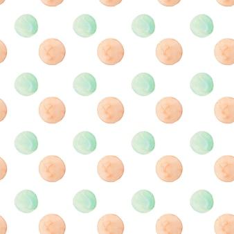 水彩の丸いドットパターン。白い背景の上の柔らかいピンクと青のドットでシームレスな手の描かれたパターン。