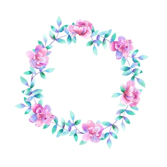 水彩の丸い花柄。