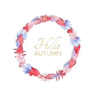 Watercolor round frame of autumn orange and blue leaves for autumn sale with texture. can be used for kids or babies design, shop and room decoration. a greeting card template. thanksgiving postcard.