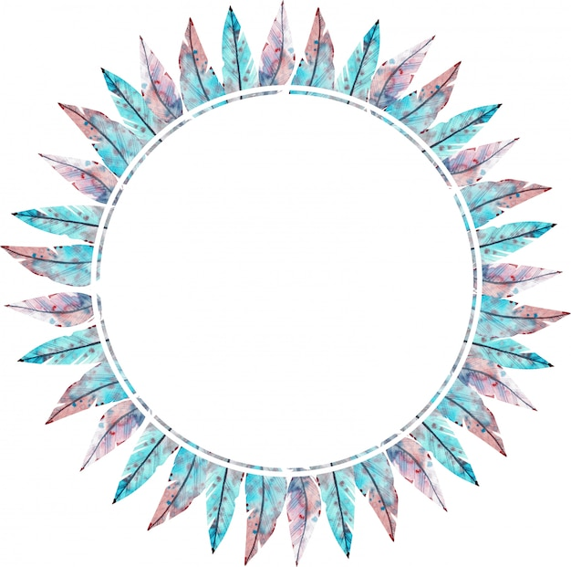 Watercolor round frame made of blue and pink feathers. watercolor illustration.