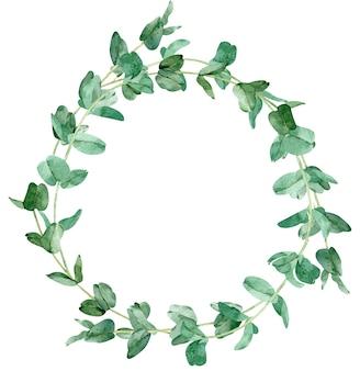 ユーカリの枝の水彩画の丸いフレーム。手描きの緑のイラスト。テキストのテンプレート。青葉。