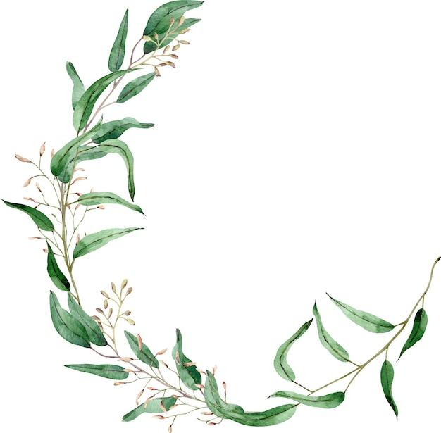 ユーカリの枝の水彩画の丸いフレーム。手描きの緑の花輪。テキストのテンプレート。緑の葉のイラスト。
